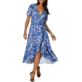ビーチドレス レディース YOKINO 花のドレス レディーズ 花柄 スクエアネック ノースリーブ ウェストゴム ワンピース フィッシュテール ドレス- (XL, ブルー)
