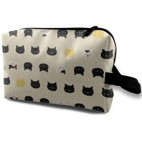 メイクポーチ かわいい猫 トラベルポーチ シングルファスナーポーチ 大容量 トラベル コンパクト 旅行収納バック 化粧品収納 便利グッズ 旅行・出張・家庭用