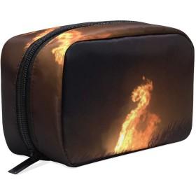 火の竜 化粧ポーチ メイクポーチ 機能的 大容量 化粧品収納 小物入れ 普段使い 出張 旅行 メイク ブラシ バッグ 化粧バッグ