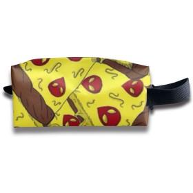 面白いピザ 化粧ポーチ メイクポーチ ミニ 財布 機能的 大容量 アイシャドー 化粧品収納 小物入れ 普段使い 出張 旅行 メイク ブラシ バッグ ポータブル 化粧バッグ
