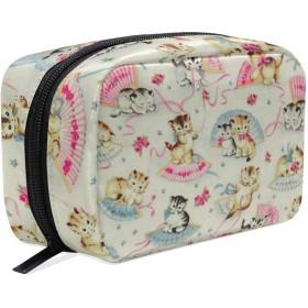可愛い 猫 化粧ポーチ メイクポーチ 機能的 大容量 化粧品収納 小物入れ 普段使い 出張 旅行 メイク ブラシ バッグ 化粧バッグ
