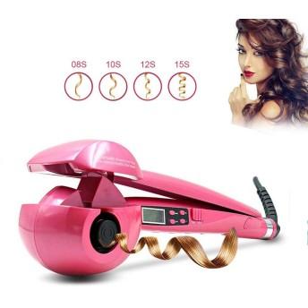 アップグレードLCDデジタル表示装置が付いている専門の自動速い毛のカーラー、セラミックスプレーカーリングアイアンマジックワンド、スチーム暖房スタイラー、女性向けギフト,Pink