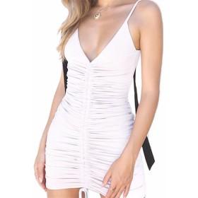 EASONDDD レディース ワンピース Vネック キャミソール タイト セクシー 胸元 ボディコン イブニング パーティー ドレス ミニ ノースリーブ かわいい