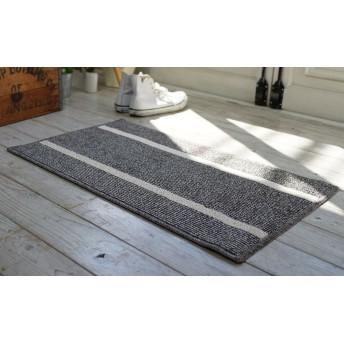 洗える デザイン玄関マット hardimat-4575(SUL) ブラウン 約45×75cm ラグ じゅうたん 国産 防ダニ すべり止め 床暖OK ボーダー 杢糸 マット シンプル ナチュラルな風合い