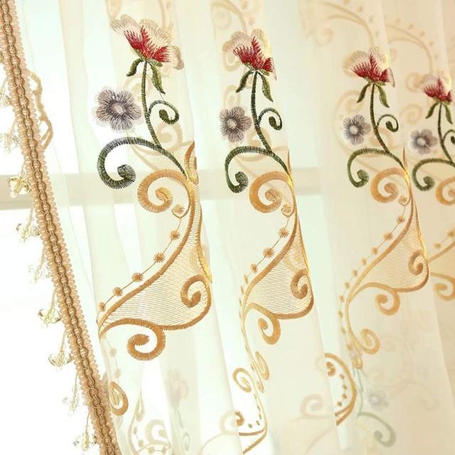 カーテン 姫系 レースカーテン 刺繍 両開き 可愛い 花の柄 おしゃれ 半遮光 高品質 遮像 インテリア オーダーカーテン 外から見えにくい 洗える 居間 断熱 UVカット ホワイト 1枚組 2枚組 全23サイズ OSONA
