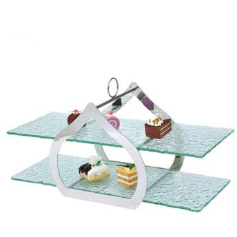 buffet ステンレス鋼2層ハート型スナックスタンドガラス付ホテルフルーツトレイペストリーラック宴会に最適ビジネスパーティーレストランとビュッフェ