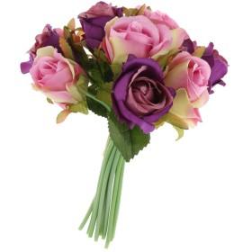 人工的ローズ 12枝ローズフラワー 美しい 花束 柔らかい花 長い茎 ホーム インテリア 装飾花 7色選べる - 紫