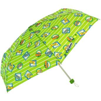 アテイン KIDS用 軽量楽々3段折畳傘 親骨50cm のりもの 黄緑 5155