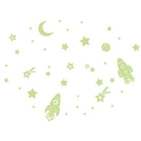 LULAA 蓄光 夜光ステッカー 蛍光ステッカー 壁紙 ロケット ウォールステッカー 剥がせる 子 供部屋 飾り 蛍光シール 60*45cm