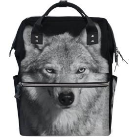 ママバッグ マザーズバッグ リュックサック ハンドバッグ 旅行用 狼柄 黒背景 ファション