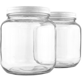 (2) - Clear Half Gallon Wide-mouth Glass Jars (2-Pack), BPA free 1890ml Capacity w/ White Metal Lids