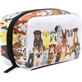 (VAWA) 化粧ポーチ 大容量 可愛い マルチ 動物 犬 メイクポーチ コンパクト 機能的 おしゃれ 持ち運び コスメ収納 仕切り ミニポーチ バニティーケース 洗面道具 携帯用