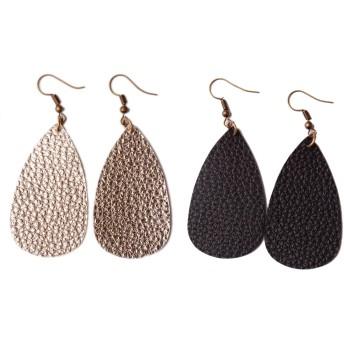 L&N Rainbery Teardrop Leather Earrings Antique Looking Leather Dangle Earrings 2 Pairs Pack