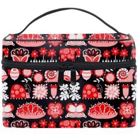 収納バッグ 化粧ポーチ トラベルポーチ 小物入れ 大きめ 女の子 可愛い プレゼント花の昆虫