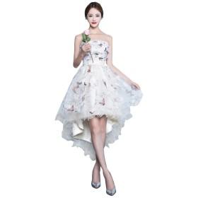 チューブトップ 可愛い ウェディングドレス 着痩せ ふんわり プリンセス イブニングドレス 気質 花嫁ドレス 結婚式 ふんわり 二次会 パーティー 花嫁ドレス お呼ばれフ ォーマルドレス (M)