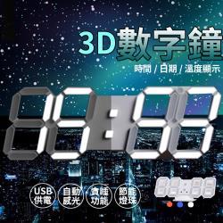 Aaron-工業風立體LED數字電子鐘 日期 溫度 貪睡鬧鐘 光控
