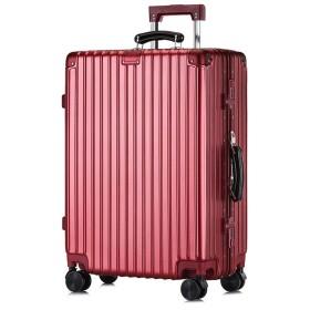 ユニセックストロリーケース、軽量キャスタースーツケース、レトロABS + PCアルミフレーム荷物、出張休暇-dark red-XL