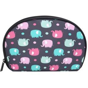 ALAZA 象のポルカドット 半月 化粧品 メイク トイレタリーバッグ ポーチ 旅行ハンディ財布オーガナイザーバッグ