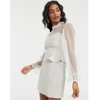 ミスガイデッド Missguided レディース ワンピース ワンピース・ドレス peplum mini dress with mesh sleeves in cream tweed マルチカラ