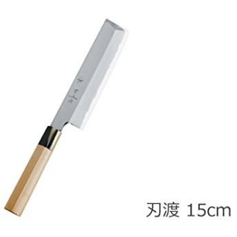 日本製 白二鋼 本露研 水牛桂柄 和包丁 神田上作 薄刃 15cm [菜切]