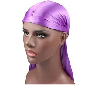 Murakush キャップ 無地 シルキー 乾燥 ロングテール プレットボンネット シンプル オールマッチング ネクタイロープ ファッション レディース 女性 睡眠 風呂 シャワー 美容院 サロン 家庭用 purple One size