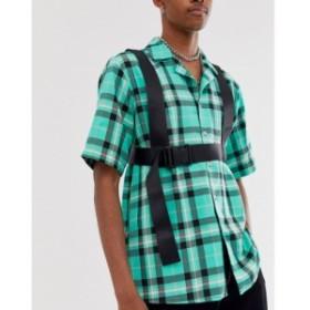 エイソス ASOS DESIGN メンズ ファッション小物 chest harness in black with back text print ブラック