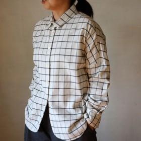 ドロップシャツ:起毛格子白