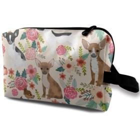 チワワ 花柄 化粧バッグ 収納袋 女大容量 化粧品クラッチバッグ 収納 軽量 ウィンドジップ