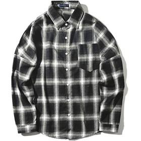 送料無料シャツ 長袖 チェック柄 ビックシルエット長袖シャツ オーバーサイズ ストリート ビッグシャツ (L, 白×黒)