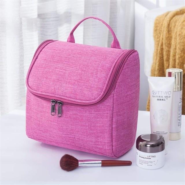 化粧品バッグ女性化粧品バッグ旅行必需品オーガナイザーポータブル男性化粧ケース美容師の女性化粧品ウォッシュポーチ (Color : Rose red)
