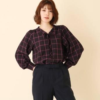 クチュール ブローチ Couture brooch 【WEB限定サイズ(LL)あり/手洗い可】チェックボウタイブラウス (ネイビー)