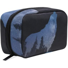 狼 化粧ポーチ メイクポーチ 機能的 大容量 化粧品収納 小物入れ 普段使い 出張 旅行 メイク ブラシ バッグ 化粧バッグ