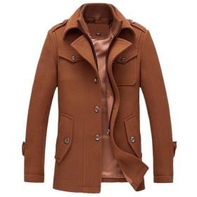 [eleitchtee] チェスターコート メンズ メルトンコート ウールジャケット ラシャコート ビジネス ウール ビジネスコート 通勤コート 紳士服 冬服 (XL ダークカーキ)