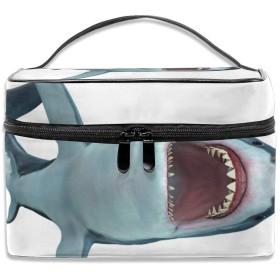 化粧ポーチ さめ サメ Shark 大容量 機能的 おしゃれ かわいい メイク/バニティ/コスメ/小物収納ポーチ コンパクト 仕切り 箱 ボックス 出張 旅行 プレゼント YAMAYAGO