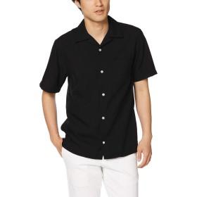 [ジョルダーノ] オープンカラー半袖シャツ M ブラック