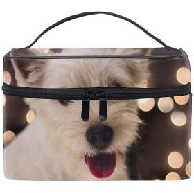 化粧ポーチ 化粧品 収納 コスメポーチ レディース ポーチ 大容量 軽量 防水ウェストハイランドホワイトテリア子犬