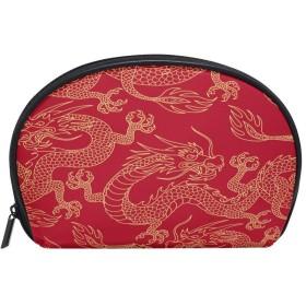 ALAZA ドラゴン 半月 化粧品 メイク トイレタリーバッグ ポーチ 旅行ハンディ財布オーガナイザーバッグ