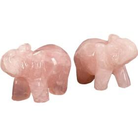 (イスイ)YISHUI風水 ワンペア 自然 彫刻 宝石 象 置物1.5 ''部屋 装飾W3386 (ピンク)