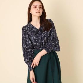 クチュール ブローチ Couture brooch 【WEB限定プライス/手洗い可】スクエアドットタイブラウス (ネイビー)