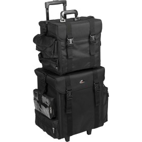 Justcase T5171NLAB 2 in 1 All Black Nylon Soft Sided Professional Rolling Makeup Case with Drawers, Side Pockets, Brush Holder & Removable Bags