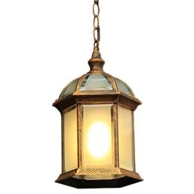 ヨーロッパのシンプルさ屋外バルコニー防水ペンダントライト廊下中庭ヴィラパビリオンぶら下げライト伝統的なガラスメタルエジソン天井照明器具(色:黒)