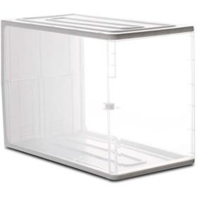 NAMI 収納ボックス アクリルケース 収納ボックス 綿棒 小物・コスメ小物用品収納 ジュエリーボックス アクセサリー 透明 防塵・蓋付き アクリル製 (2段)