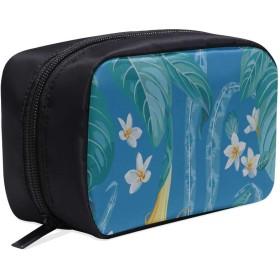 CWSGH メイクポーチ 植物 青い きれいなパームの葉 ボックス コスメ収納 化粧品収納ケース 大容量 収納 化粧品入れ 化粧バッグ 旅行用 メイクブラシバッグ 化粧箱 持ち運び便利 プロ用