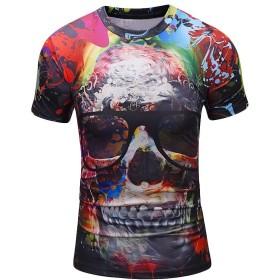 メンズ tシャツ 3Dプリント YOKINO 夏半袖Tシャツ 創意 メンズ着心地いい 快適 薄手 インナーホワイト プレゼント 大きいサイズ 友達彼氏 人気 通販 (L, レッド)