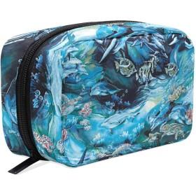 イルカ 海亀 化粧ポーチ メイクポーチ 機能的 大容量 化粧品収納 小物入れ 普段使い 出張 旅行 メイク ブラシ バッグ 化粧バッグ