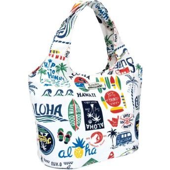 Kahiko ハワイアン バッグ ハワイアン雑貨 ヴィンテージ ミニトートキャンバス バッグ (ハワイアンモチーフ・ロゴ) (ホワイト)