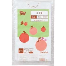 カウネット 低密度ゴミ袋エコ厚少量パック 乳白90L20枚×5