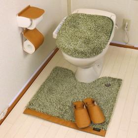 北欧 おしゃれ トイレマット セット 4点 洗浄暖房型 標準 ふわふわ レザーグリーン カームランド ワードローブ