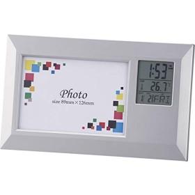 フォトフレームクロックワイド 6130 【デジタル シンプル 写真立て 写真入れ かわいい おしゃれ 置き時計 人気 おすすめ 通販パーク】