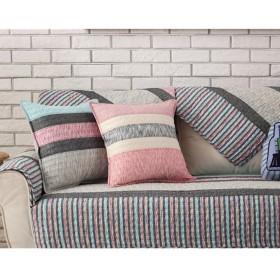 [Ziv-Nat] 枕カバー (1枚販売) ピロケース 丸洗いOK 西洋式 北欧 幾何柄 花柄 イギリス風 おしゃれ 座布団カバー ピンク 45X45cm